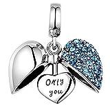 SPARKL 925 Sterling Silver Ciondola / Ciondola I Love You Crystal Charm Bead fit Collana e Pandora Bracelet.