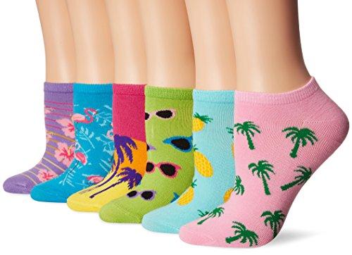 K. Bell Women's 6 Pack Novelty No Show Low Cut Socks, Palm Beach (Blue), Shoe Size: 4-10