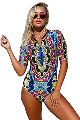 Aleumdr Womens Zip Front Printed Half Sleeve One Piece Swimsuit Rash Guard Swimwear Color Blocked Large Size Multicoloured