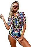 Aleumdr Womens Sexy Zip Front Printed Half Sleeve One Piece Swimsuit Rash Guard Swimwear Color Blocked Medium Size Multicoloured