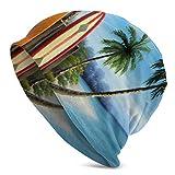 Lawenp Gorro de Punto de Moda para Unisex, Tablas de Surf y Palmeras Beanie Hat Negro