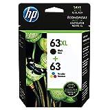 HP 63XL Black High Yield Original Cartridge & 63 Tri-Color Original Ink Cartridge, 2 Pack (L0R48AN)