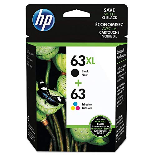HP 63XL Black High Yield Original Cartridge & 63 Tri-Color Original Ink Cartridge, 2 Pack (L0R48AN)