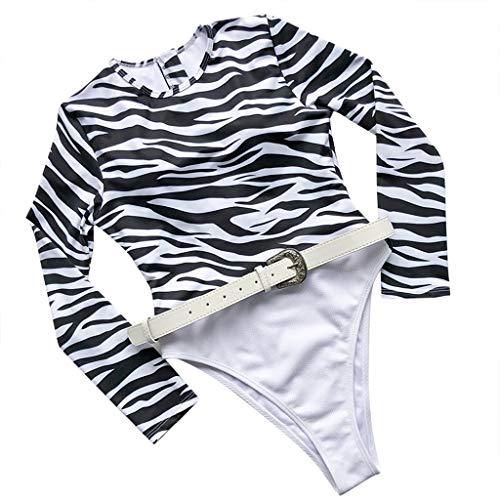 HINK Traje de baño para Mujeres, Bikini de Mujer Patchwork Set Traje de baño Sujetador Relleno de una Pieza Traje de baño Ropa de Playa Blanco L, Traje de baño para Mujeres Control de Barriga