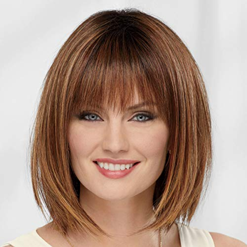 Dahlia VersaFiber Wig by Paula Young - Heat-Stylable Bob Wig with Razor-Cut Layers and Edgy Bangs/Multi-tonal Shades of Blonde, Silver, Brown, and Red