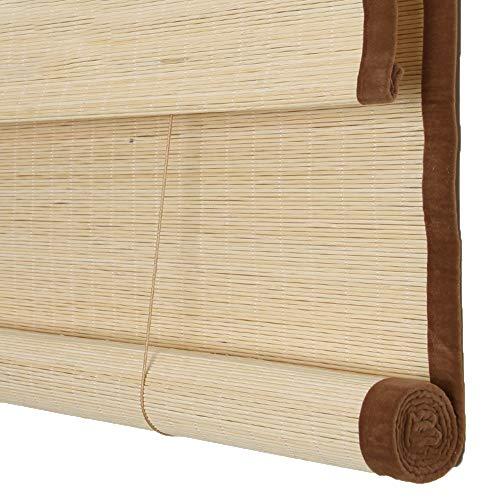 JIAYUAN bamboe rolgordijnen op maat gesneden tot breedte platte bamboe Romeinse schaduw met Valance licht filteren Pull jaloezieën voor raam en deur