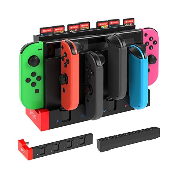 JoyCon Charging Dock and Game Card Storage for Nintendo Switch, Storage Case with 28 Game Card Slots Accessories Kits and Charger Support to Charge 1-4 Pcs of Joy-con