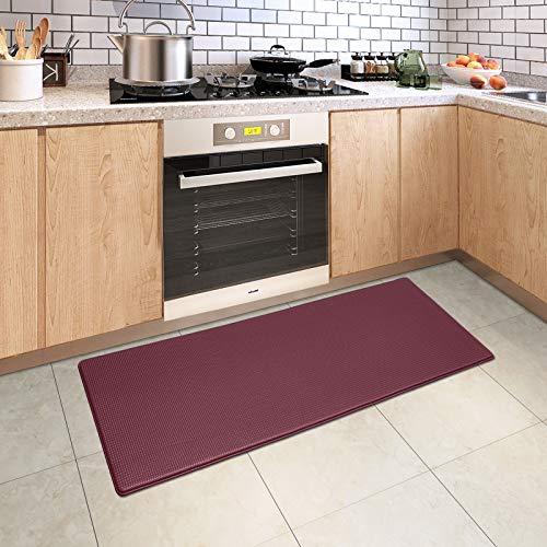 DEXI Kitchen Rug Cushioned Anti Fatigue Kitchen Mats, 2/5Inch Waterproof Non Skid Memory Foam Standing Mat, 17x47, PaleVioletRed