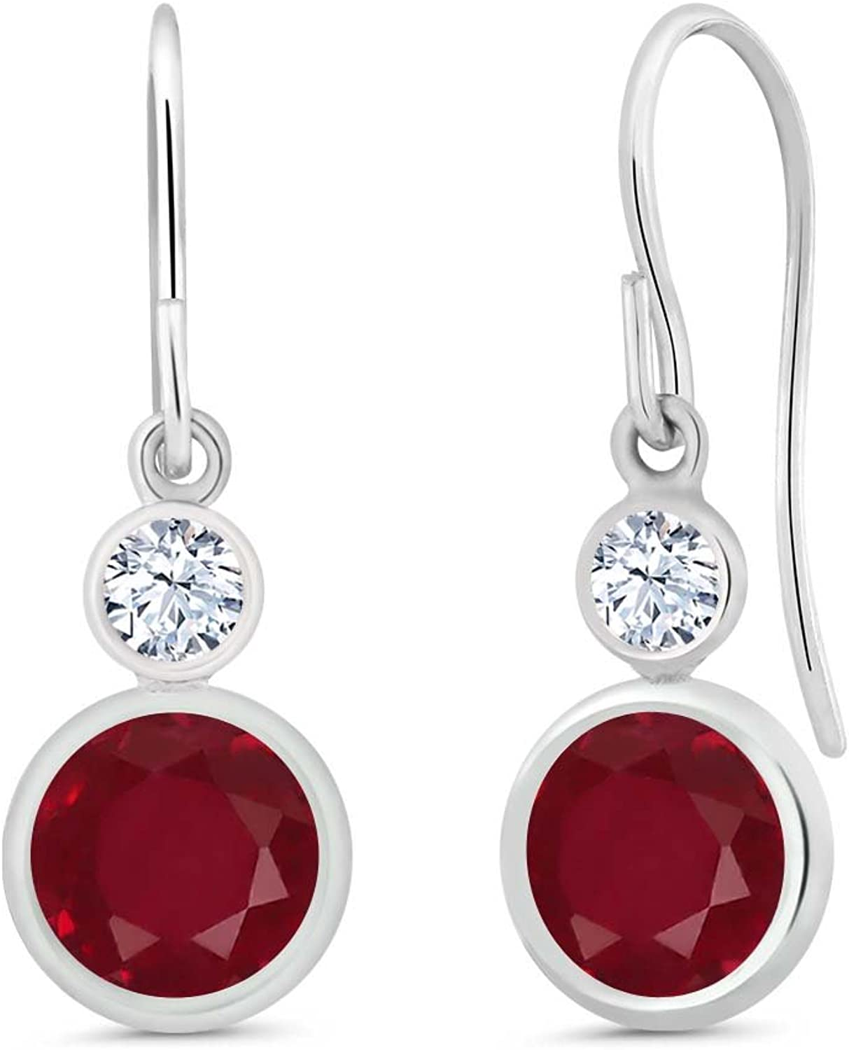2.32 Ct Round Red Ruby 925 Sterling Silver Earrings