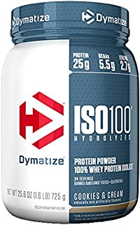Dymatize ISO 100 Whey Protein Powder with 25g of Hydrolyzed 100% Whey Isolate, Gluten Free, Fast Digesting, Cookies and Cream, 1.6 Pound