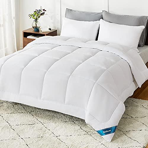 Bedsure King Comforter Size Duvet Insert - Down Alternative White Comforter King Size, Quilted All Season Duvet Insert King Size with Corner Tabs
