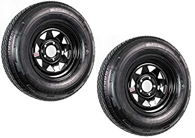 2-Pack Trailer Tire and Rim Radial ST205/75R14 LRD 5-4.5 Black Spoke Wheel