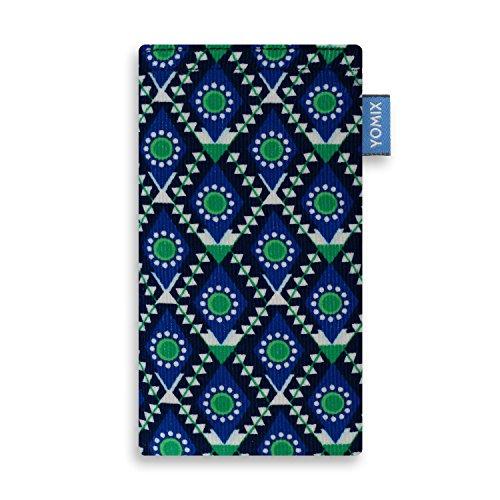 YOMIX Maja Blau Handytasche Tasche für LG Q7 Alfa aus Cordstoff mit Microfaserinnenfutter | Hülle mit Reinigungsfunktion | Made in Germany