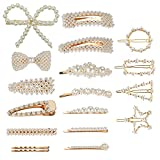Pearl Hair Barrettes for Women Girls, Funtopia 18pcs Fashion Sweet Artificial Pearl Hair Clips Geometric Barrette Decorative Bobby Pins Bow Alligator Clips for Party Wedding Daily, Applies to Bun Updo