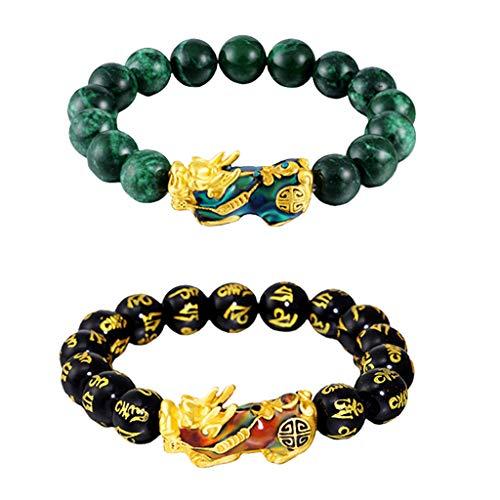 #N/A/a 2 Piezas Feng Shui Mantra Obsidiana Bead Pixiu Charms Aleación Pulsera Joyería de La Suerte