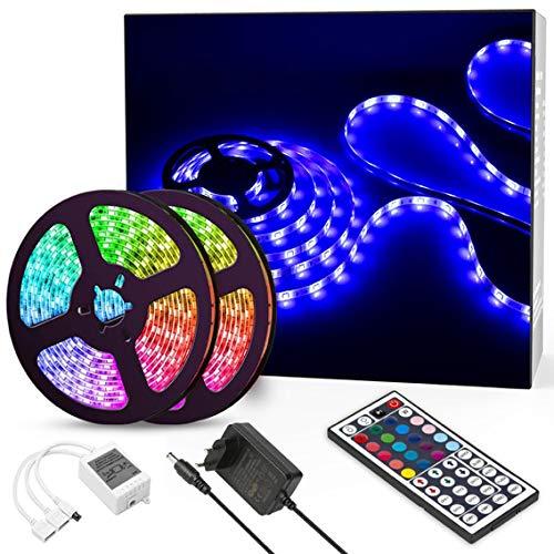 Lampee LED Strip RGB 10m LED Streifen SMD 5050 Leds Wasserdicht mit Netzteil, Fernbedienung Led Lichtband für Wohnhaus,Küche und Deko Party