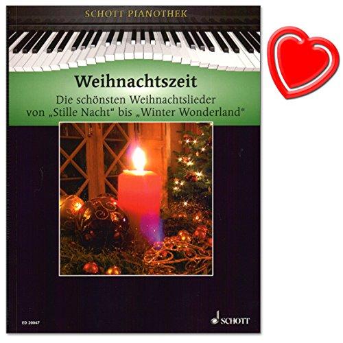 Kersttijd - pianotheek Heumann - De mooiste kerstliedjes van stille nacht tot winter Wonderland voor piano - met kleurrijke hartvormige notenklem
