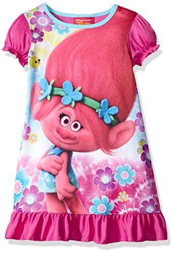 DreamWorks Girls' Big Trolls Nightgown, Poppy Candied Carnation SS, 8