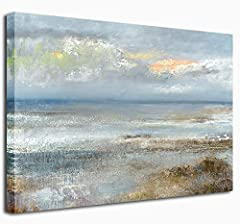 HD wall art abstract beach painting giclee prints on premium canvas Perfect beach canvas art wall decor for home, office, living room, bedroom, bathroom, kitchen and other space for canvas artwork lovers Each abstract canvas art is waterproof, UV-res...