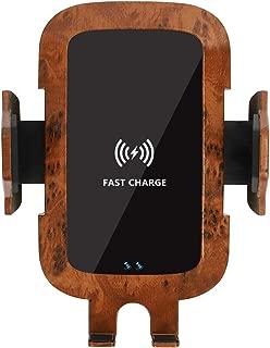 木目調車載Qi ワイヤレス充電器 車載 ホルダー10W/7.5W急速ワイヤレス充電器車載スマホホルダー 360度回転 粘着式&吹き出し口2種類取り付 iPhone X/XR/XS/XSMAX/8/8 Plus/Galaxy S9/S8/S8 Plus/S7/S7 Edge/S6/S6 Edge/Note 8/Note 5/Nexus 5/6等に適用ワイヤレス充電機種に対応