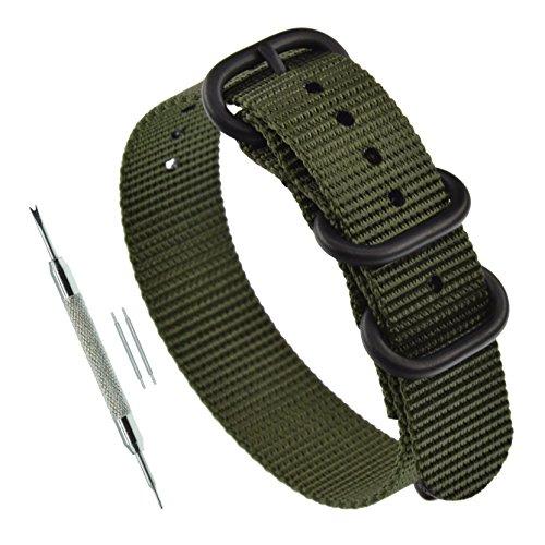 22 mm Correa ZULÚ Banda Reloj Nylon 3 Anillo Verde