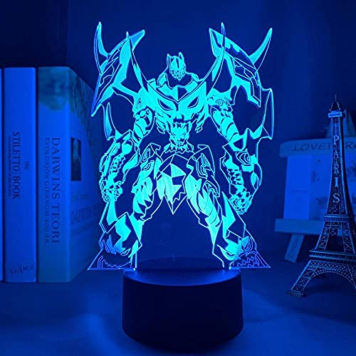 Urren Lagann - Señal de luz de anime japonesa con luz LED 3D de ilusión de 16 colores, con mando a distancia, carga USB, decoración de dormitorio infantil, luz nocturna