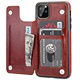 iPhone 11 Pro Max Wallet Case with Card Holder,OT ONETOP PU Leather Kickstand Card Slots Case,Double Magnetic Clasp and Durable Shockproof Cover for iPhone 11 Pro Max 6.5 Inch(Brown)