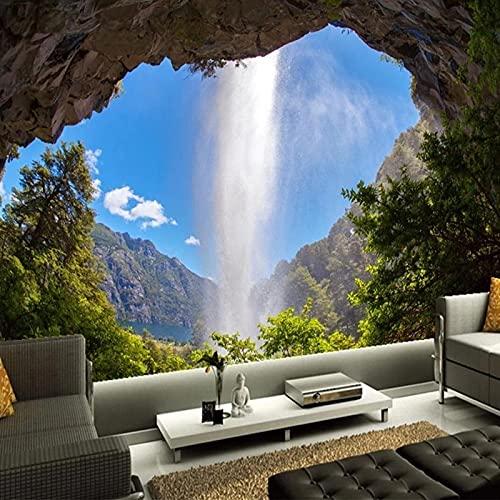 Fotomurales Papel Tapiz Fotográfico 3D Cueva Cascada Paisaje Natural Mural Grande Decoración Del Hogar Sala De Estar Dormitorio Seda 400X280Cm