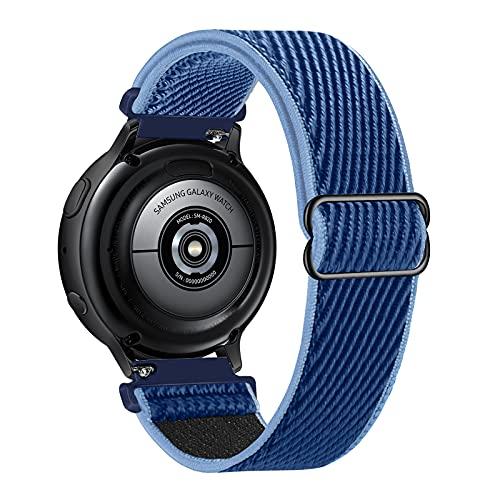Lobnhot 22mm Solo Loop Compatible con Correa de Reloj de Samsung Galaxy Watch 3(45mm/44mm)/Watch 46mm/Gear S3 Classic/Frontier,Nylon Elástico Ajustables (22mm-Azul Medianoche)
