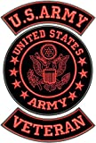 US Army Veteran Patches Set for Veterans Bikers Motorcycle Jacket or Vest RED