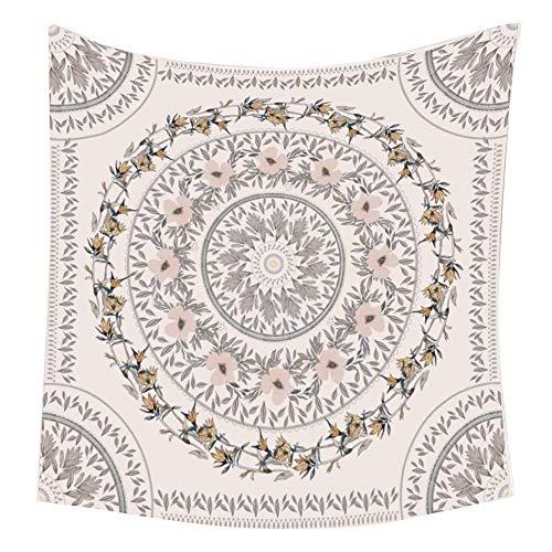 Camisin Tapiz con patrón floral bosquejado, tapiz bohemio mandala para colgar en la pared, mural de impresión artística para dormitorio y decoración del hogar