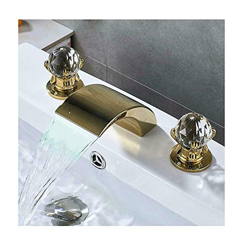 GLYYR LED Wasserfall Waschbecken Wasserhahn Messing Kaltes Und Heißes Wasser Bad Mischbatterie 3 Löcher Doppelter Kristallgriff An Der Deck Montiert Waschtischarmaturen,Gold
