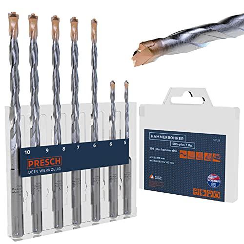 Presch SDS Plus Bohrer Set 7-tlg - Hammerbohrer Set SDS für Beton, Stein, Granit, Ziegel und Mauerwerk - Hochleistungs SDS Bohrer Set mit patentierter Hartmetallplatte - Betonbohrer Set Ø 5-10mm