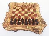 Ajedrez rústico, tamaño XL, con figuras de ajedrez, hecho a mano en madera de olivo, regalo