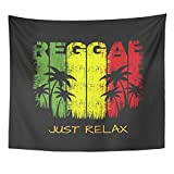 TOMPOP Tapestry Colorful of Reggae Music Slogan Just Relax Graphics Green Home Decor Wall Hanging for Living...