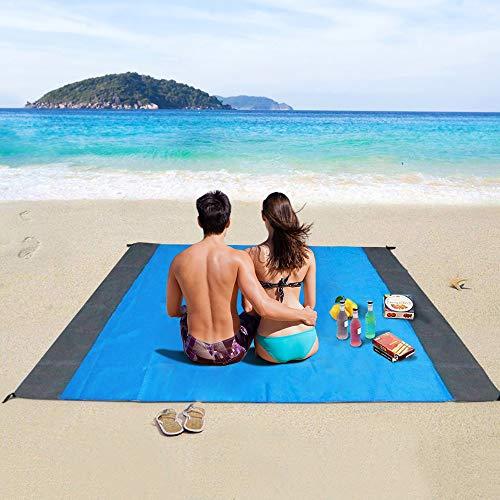 Coperta da Spiaggia, laxikoo Coperta da Picnic Anti Sabbia 210x200 Portatile Impermeabile Coperta Tascabile con Reticule e 4 Picchetti Fixed per Picni