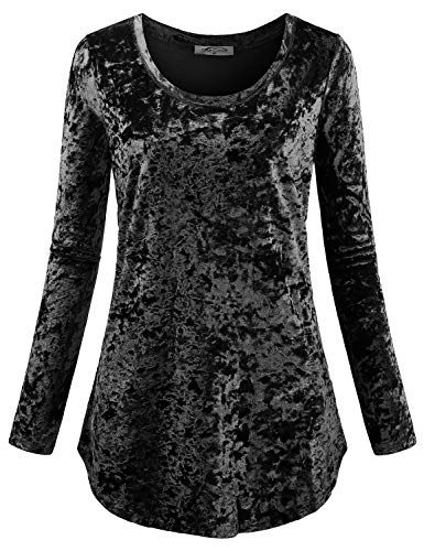 Tunic Shirts for Women,SeSe Code Ladies O-Neck Full Sleeve Velvet Knit Cute Shirts Curvy Tops Dressy Contemporary New Chic Easy Fit Awesome Fresh Layering Casual Blouse Tunic Black XXL