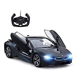 "BMW i8 concept radio remote control car is an authentic 1/14 scale replica officially licensed by BMW; Car measures 13.2""*6.3""*3.7""; Color available in matt black. Forward, reverse, stop, left, right motion controls; Features with scissor doors opene..."