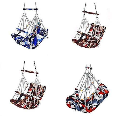 KINGZONE® Cotton Swing Chair Folding and Washable, 1-5 Years with Safety Belt,Swing for Kids,Garden Jhula for Babies,Baby Hanging Swing Jula-Reliance Filling Material (Multi-Color)
