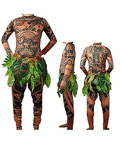 MINASAN Maui Tattoo - Traje de Disfraz de Halloween, para Hombre, Mujer, con Falda de Hojas, marrón