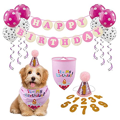 FUAMEY Dog Birthday Bandana Girl, Pink Tutu Skirt Hat Triangle Scarf Outfit Cute Doggie with Hat & Dog Happy Birthday Banner Ballon, Pink Theme Pet Birthday Party Supplies Decorations