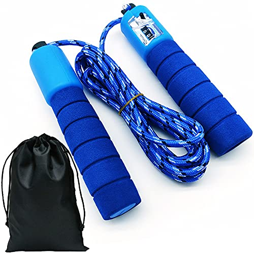 Springseil Sport Kinder 8Jahre,Ropes Fitness Einstellbare Leicht Baumwolle Seil mit Zähler,Speed Rope mit Schaumstoffgriffr Für Workout Grundschülern Seilspringen(2.5m Länge/Blau)
