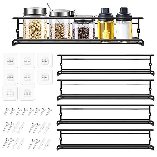 Organizador Especias - Set de 4 Especieros Pared Estante Cocina de Metal - Organizador de Condimentos Adhesivo para Cocina Armarios Despensero - Negro 29 x 6,35 x 6 cm