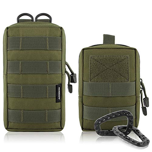 AIRSSON Molle Klein Tasche Taktische Gürtel Tasche Beutel Utility Pouch Wanderausrüstung (Green-Molle Pouch+Waist Bag)