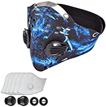 ydfagak Dust Mask Dustproof Mask Windproof Foggy Haze Anti-Dust Mask Motorcycle Bicycle Cycling Ski Half Face Mask for Running, House Cleaning, Gardening and Other Activities with 5 Filters (Blue)