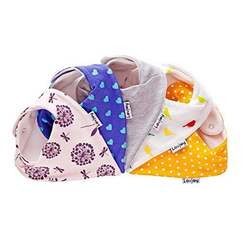 Lovjoy Bandana Baby Halstuch Lätzchen, Dreieckstucher, Für 0-3 Jahre, 5er Pack (Chirpy & Cheerful)