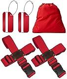 Koffergurt Set 4 Stück - Gepäckgurt zum sicheren Verschließen der Koffers auf Reisen + GRATIS 2 Kofferanhänger - Kofferband Gurt Kreuz verstellbar & rutschfest - Rot von BLACK BISON