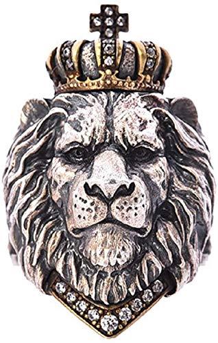QAZXCV León Cabeza Vikingo Anillo para Hombres, Anillo De León De La Corona del Rey del Animal Punk, Cabeza De León De Hip Hop con Rhinestones De Corona Anillo De Ciclista De Cristal,12