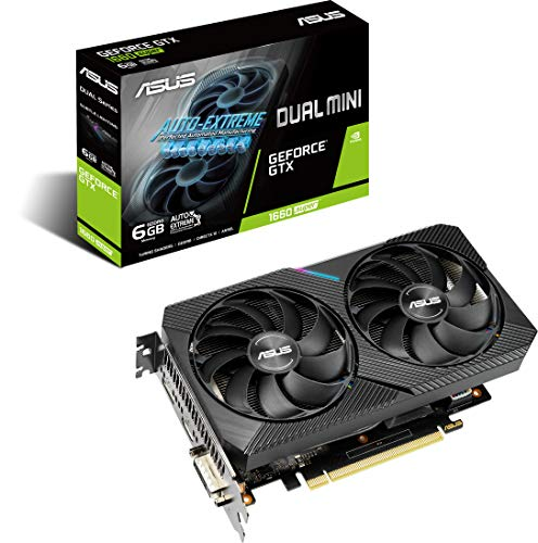 ASUS Dual Nvidia GeForce GTX 1660 Super 6GB Mini OC Edition Gaming Grafikkarte (GDDR6 Speicher, PCIe 3.0, 1x HDMI 2.0b, 1x DVI, 1x DisplayPort 1.4, DUAL-GTX1660S-O6G-MINI)