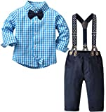 Baby Boy's 2 Pieces Tuxedo Outfit, Long Sleeves Plaids Button Down Dress Shirt with Bow Tie + Suspender Pants Set for Infant Newborn Toddlers, Blue, Tag 90 = 18-24 Months